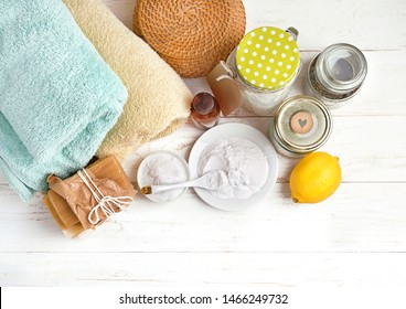 Eco friendly products for home cleaning. DIY ingredients - essential oil, lemon, soap, baking and washing soda, vinegar. Natural domestic cleaning. simple recipes homemade. zero waste detergent
