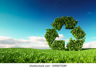 Eco friendly recyclation concept. 3d rendering of green recycle icon on fresh spring meadow with blue sky in background.