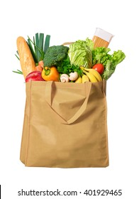 Eco friendly reusable shopping bag filled with vegetables