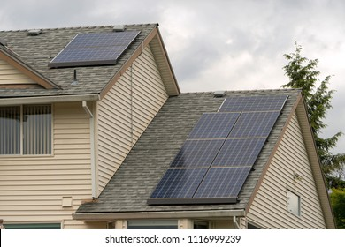 Eco Friendly Single Family Home with solar panels on roof top