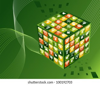 Eco friendly smart phone app cube with icon set background.