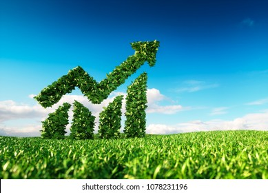 Eco friendly sustainable growth concept. 3d rendering of chart and arrow shape sign on fresh spring meadow with blue sky in background.