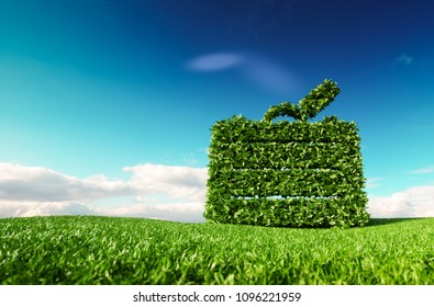 Eco friendly tourism concept. 3d rendering of a suitcase icon on fresh spring meadow with blue sky in background.