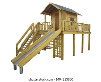 Eco friendly wooden modern playground isolated over white background