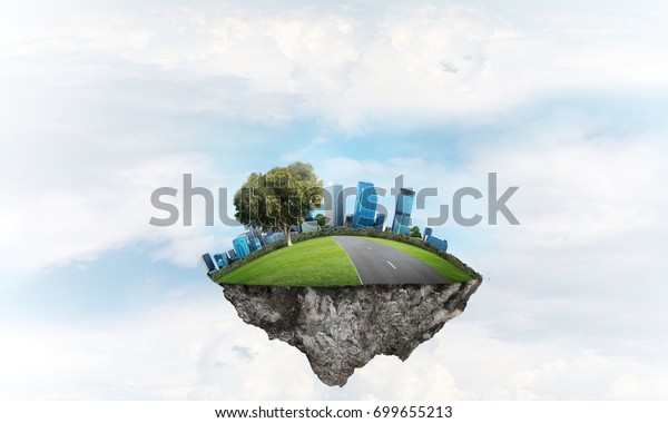 Eco Green Concept Cityscape On Island Stock Photo Edit Now