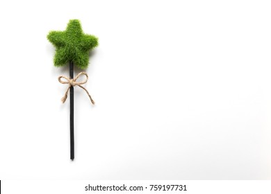 Eco green handmade stick with plants on the white background