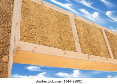eco house and construction made of straw and hay