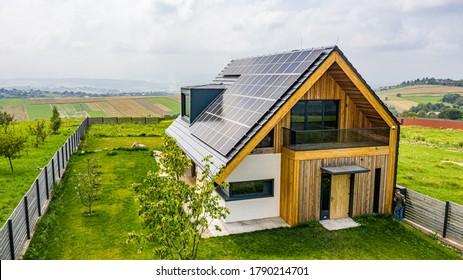 Eco house with sun panels energy