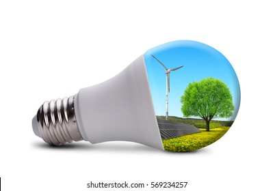 Eco LED bulb with solar panel and wind turbine isolated on white background.