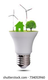 Eco LED light bulb isolated on white background. Concept of green energy.