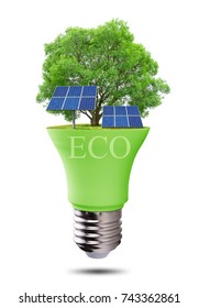 Eco LED light bulb with solar panels isolated on white background. Concept of green energy.
