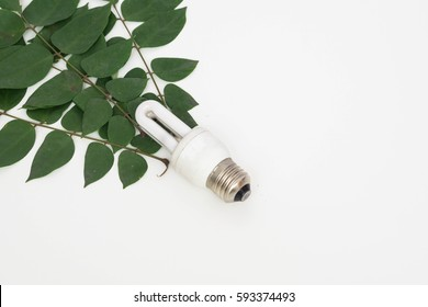 Eco light bulb and green leaf on white background. Earth hour concept. Selective focus.