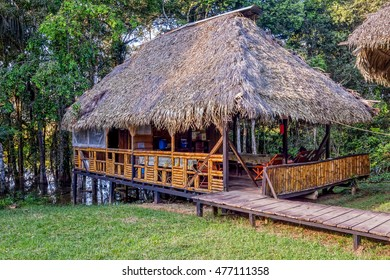 Eco Lodge Made From Bamboo Located In Cuyabeno Wildlife Reserve, South America