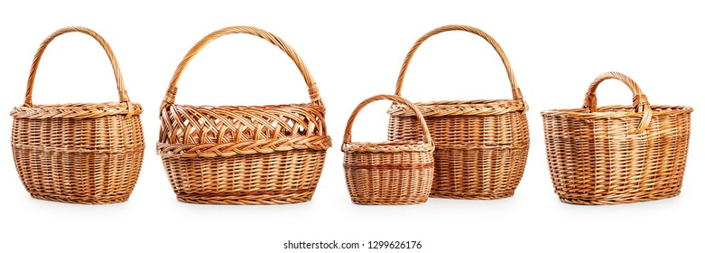 Eco package concept. Empty wicker basket collection isolated on white background. Environmental protection, design elements banner