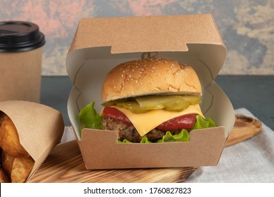 Eco packaging - craft burgers for delivery service. Fast food.