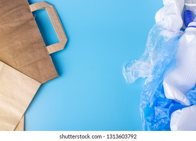 Eco paper vs plastic bags for packaging and carrying products. Choose for protection of the environment. Place for text