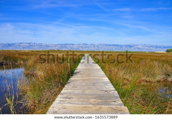 Eco Park of the Nin Lagoon. Nin' s lagoon. Endemic, endangered species. Wooden trails and bridges. Muddy and sandy shore, marshes and wetlands. Home of great number of bird species. Scenery of Velebit