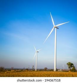 Eco power. Wind turbine electric generator in Thailand.