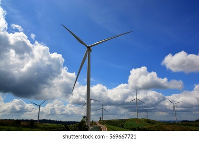 Eco power. Wind turbines power generating electricity