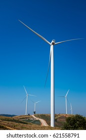 Eco power, wind turbines generating electricity with clear blue sky background and grassland. Green earth concepts. Landscape with windmills for electric power production, renewable energy source.