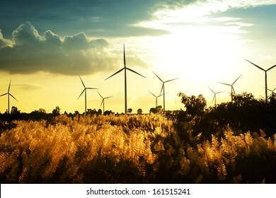 Eco power, wind turbines at sunset