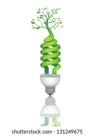 Eco tree bulb representing clean and renewable energy. Environment friendly concept