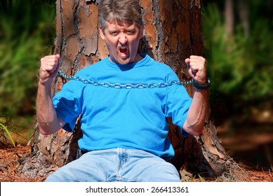 Eco warrior chained to a tree to stop the tree from being cut down and to protest deforestation
