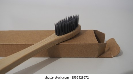 The eco-friendly bamboo toothbrush detail