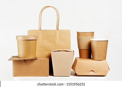 Eco-friendly disposable tableware for fast-food on the white table, concept of plastic free life stile