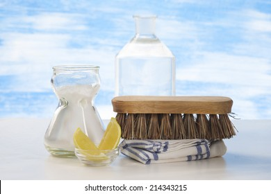 Eco-friendly natural cleaners Vinegar, baking soda, salt, lemon and cloth