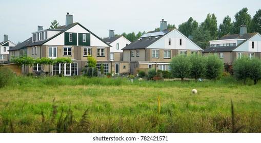 Eco-friendly neighborhood in Diemen suburb of Amsterdam, in summer