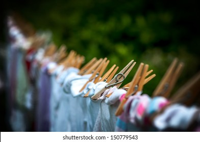 Eco-friendly - washing line, clothes and pegs.
