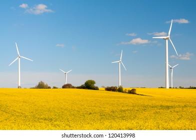 Eco-friendly wind turbines between yellow canola fields in Germany