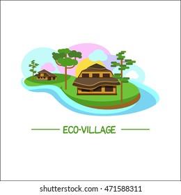 Eco-house. Logo eco-village. Corporate brand style.