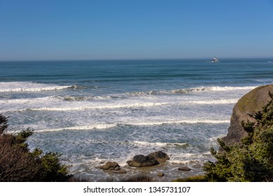 Ecola state park overlooking the Pacific Ocean and Tillamook rock light Oregon.