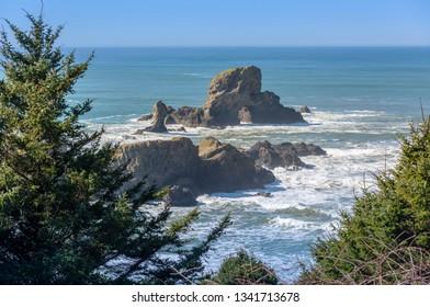 Ecola state park rocks and surf Oregon coast.