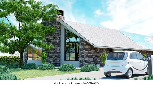 Ecologic luxury house and electric car, 3d render