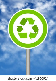 Ecologic traffic sign on blue sky