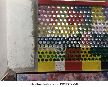 Ecologic wall bilded up from old glass bottles