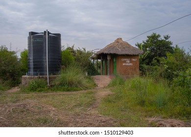 ecological composting toilet on countryside