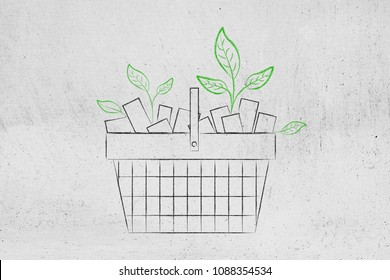 ecological consumer choices: shopping basket full of products and with leaves growing out of it