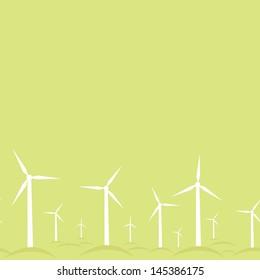 Ecological modern windmills horizontal seamless pattern background raster