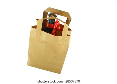 ecological paper bag and wine