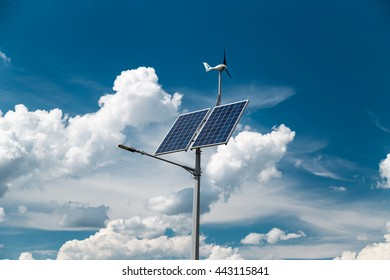 Ecological street lamp with photovoltaic panels and wind turbine