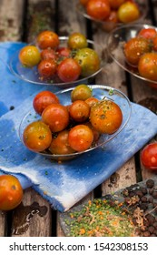 Ecologically grown cherry tomato of different sizes and ripening of the Mediterranean garden