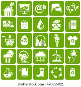 Ecology, alternative energy sources, science and market icons set.