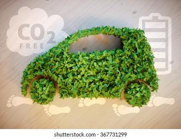 Ecology car concept. 3D illustration.