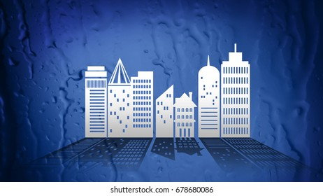 Ecology City concept in Paper Cut Style on Abstract background, concept art, Illustration mixed with Photo.