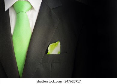 Ecology concept, business suit with green leave