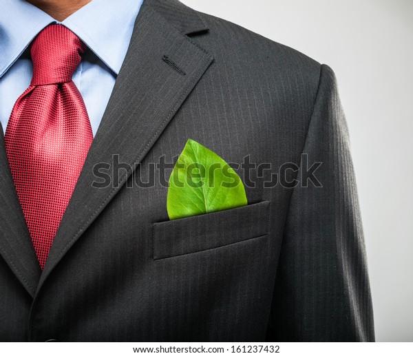 Concetto di ecologia, uomo d'affari con una foglia verde in tasca